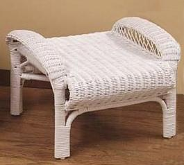 standard white wicker ottoman stock #4500