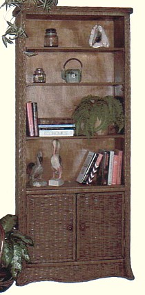 tall wicker bookshelf with 2 doors & 4 shelves