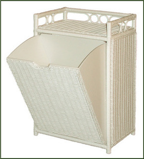 white wicker hamper with pull out bin