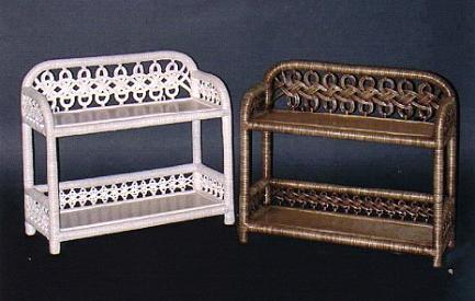 two tier wicker bath wall shelves