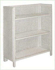 white wicker bookcase with three open shelves