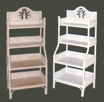 wicker bakers rack with four shelves
