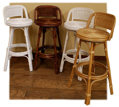 wicker bar stools shown in four colors stock #4951