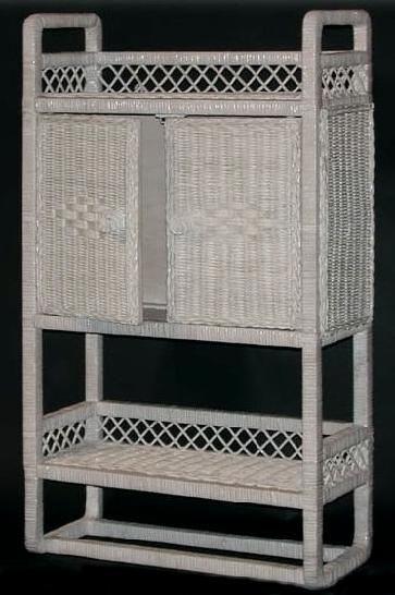Wicker Wall Cabinet With Shelf And Towel Rack