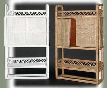 wicker two door wall cabinets with shelf and towel bar