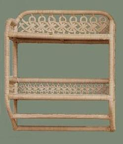 wicker bath shelf with towel bar
