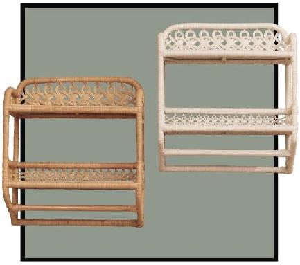 wicker bath shelves with towel bar