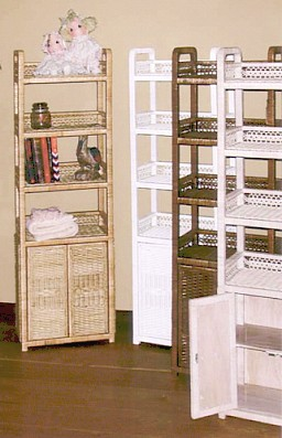 tall wicker shelving cabinet with bottom doors