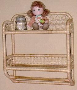 wicker bath wall shelf with towel rack