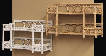 two tier wicker bath shelves stock #4942