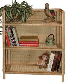 wicker bookcase pictured in natural color