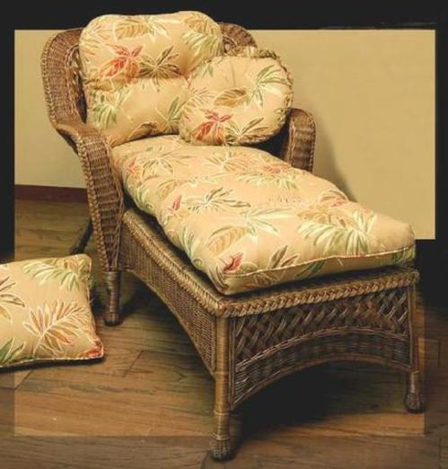 real wicker chaise lounge shown in brown