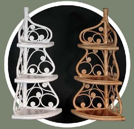 fancy wicker corner shelves pictured in white and natural color