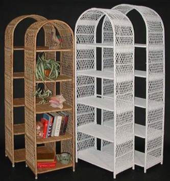 wicker etagere shelves pictured in natural & white colors