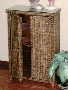 brown solid door wicker floor cabinet