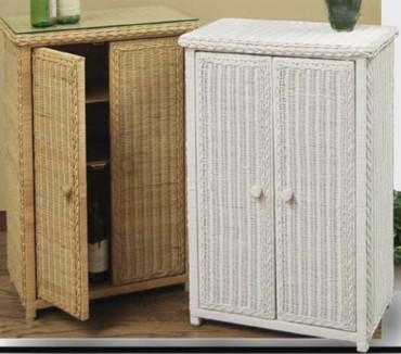 Solid Door Floor Cabinets Pictured In Natural White Wicker