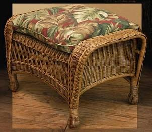 wicker footstool pictured in brown