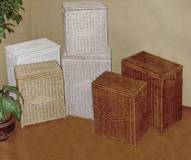 wicker laundry hampers pictured in four available colors