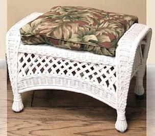 indoor wicker ottoman pictured in white