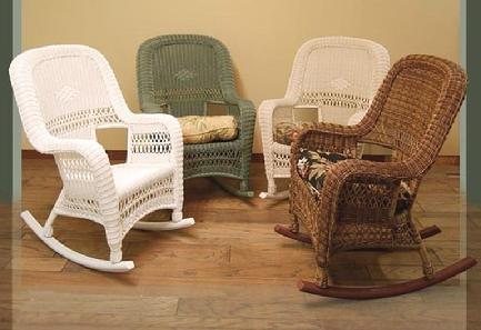 wicker rockers outdoor shown in four color choices stock #4178