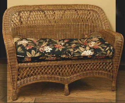 real wicker settee pictired in brown