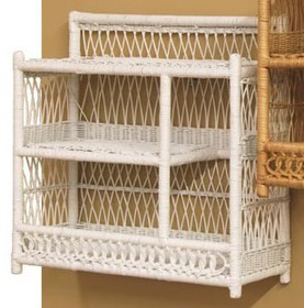 white wicker bath wall shelf stock #4904