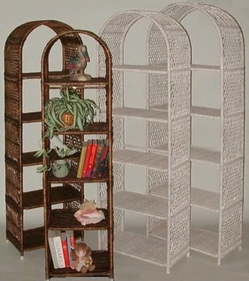 arch etagere shelves pictured in brown & whitewash colors