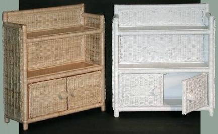 two tier two door wicker wall cabinets stock #4803