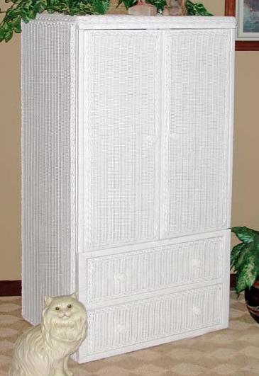 Two Door Two Drawer Wicker TV Armoire Stock #4886 $632 W/ball Feet $604  Economy