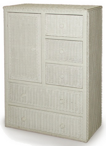 One Door Five Drawer Wicker Armoire Shown In WHITE Stock #4388
