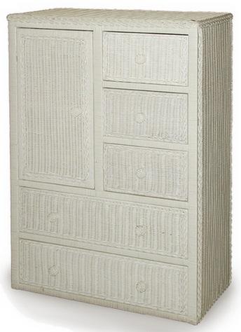 Beau One Door Five Drawer Wicker Armoire Shown In WHITE Stock #4388
