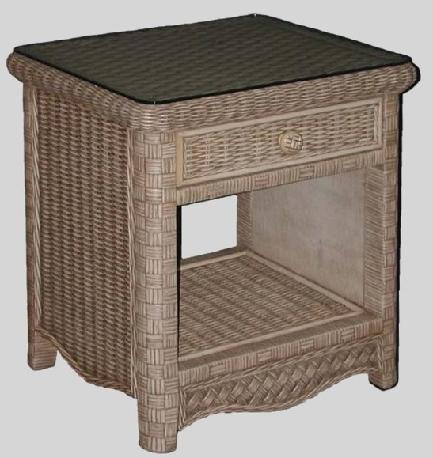 White Wicker Nightstand Bedside Table